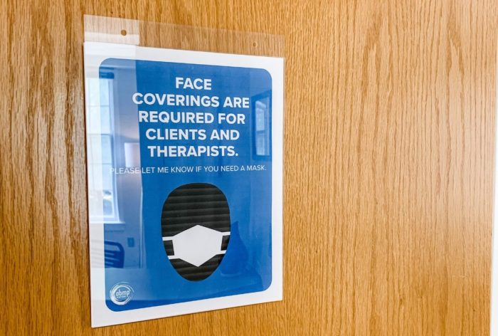 pandemic, massage therapy, door, wear masks